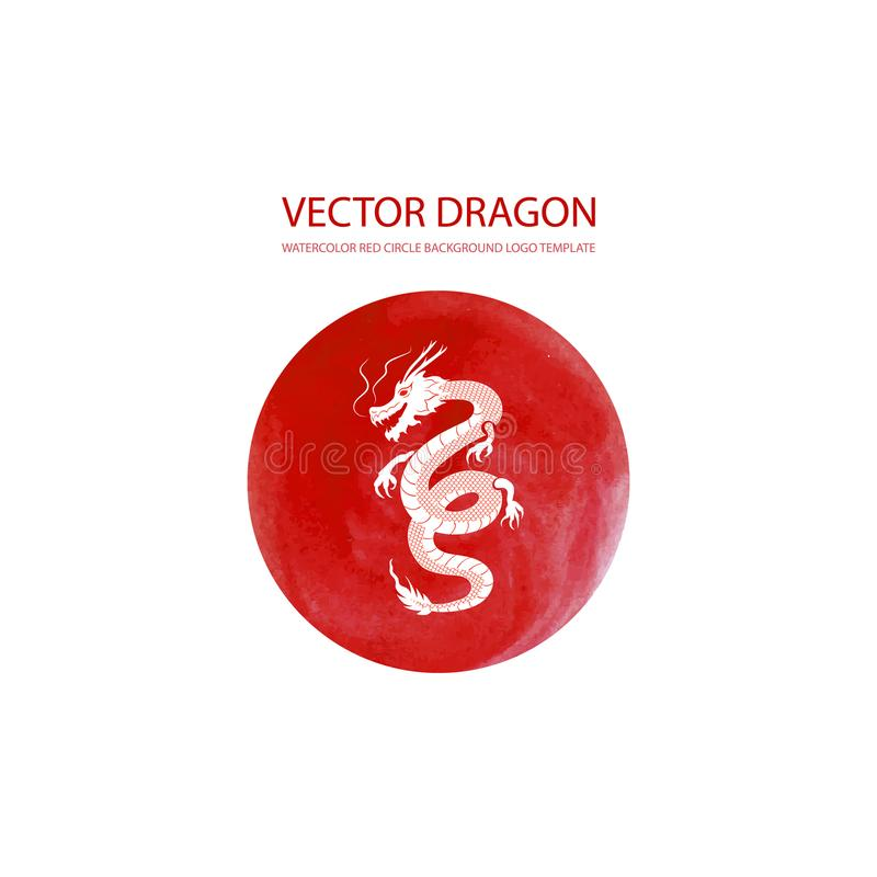 Vector Watercolor Logo Circle with White Dragon, Illustration Isolated. stock illustration
