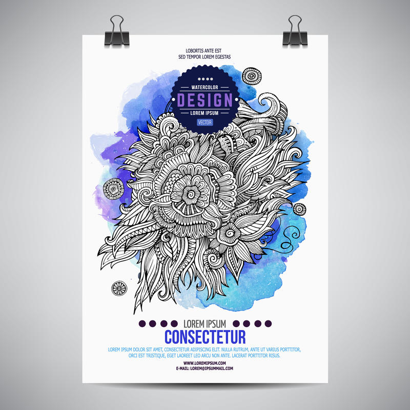 Vector watercolor paint floral poster stock illustration