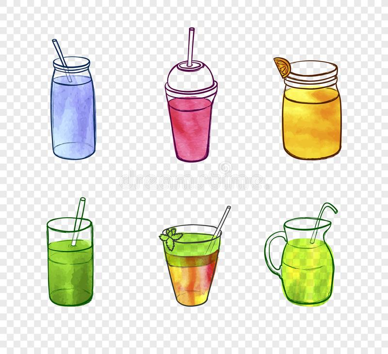 Vector Watercolor Painting, Smoothie Glasses, Elements on Light Transparent Background. stock illustration