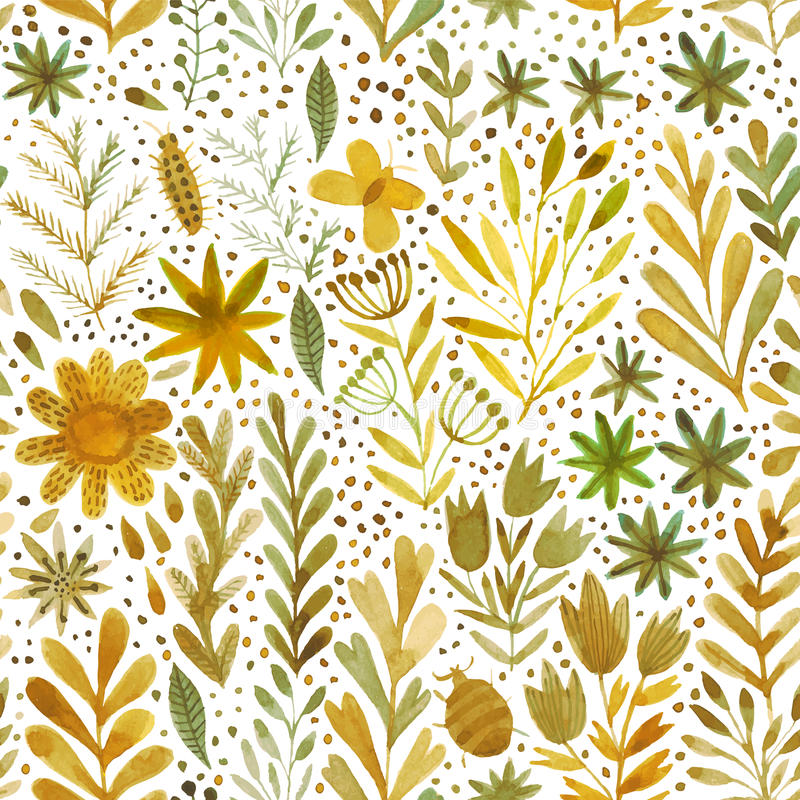Vector watercolor pattern, floral texture with hand drawn flowers and plants. Floral ornament. Original floral background. stock illustration