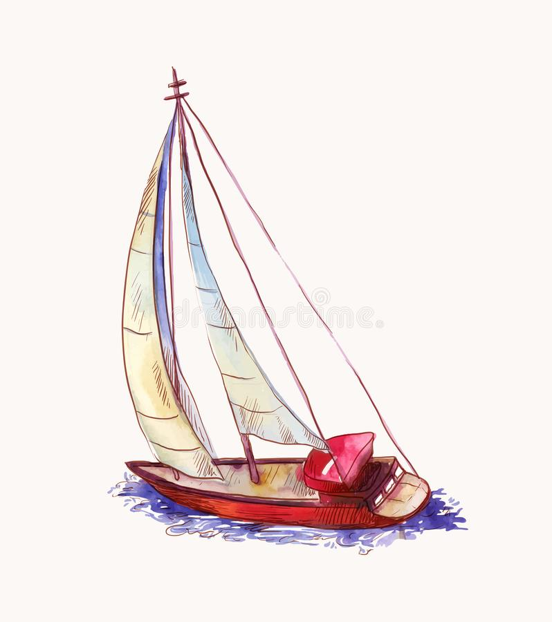 Vector watercolor red sailboat isolated on white. Seascape scene in sketch style. Watercolor sailboat afloat, wind in sails in sketch  style. Seascape royalty free stock photo