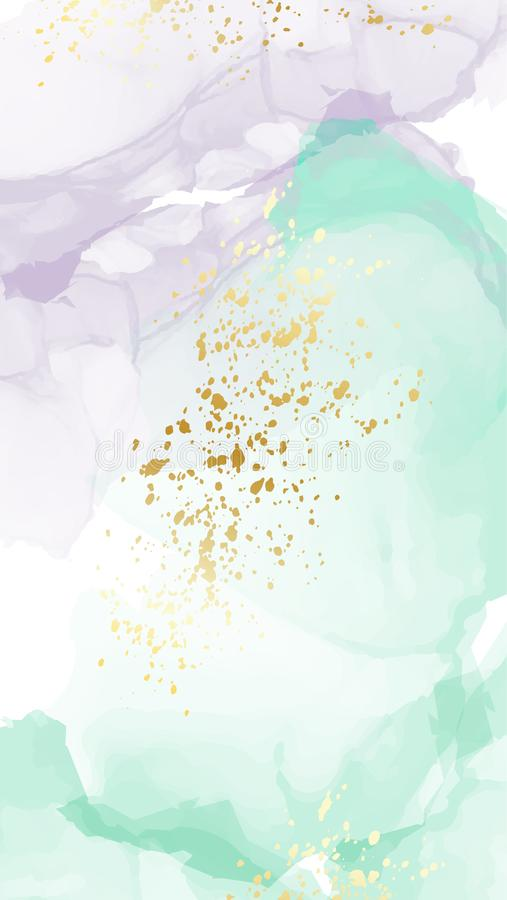 Vector watercolor repetition liquid flow in green colors with gold glitters. Vector contrast alcohol ink grunge abstract stock illustration