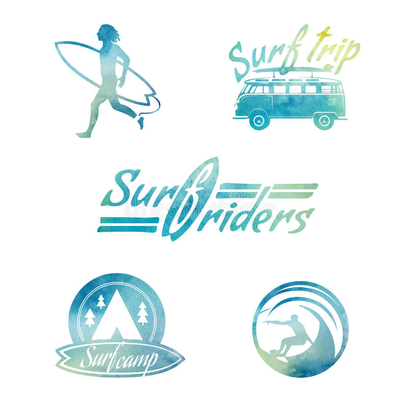 Vector Watercolor Retro Style Surfing Labels. royalty free illustration