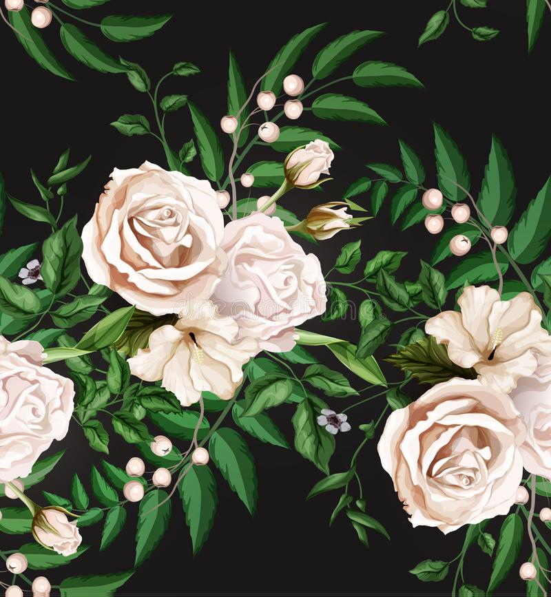 Vector watercolor rose bouquet seamless pattern stock illustration