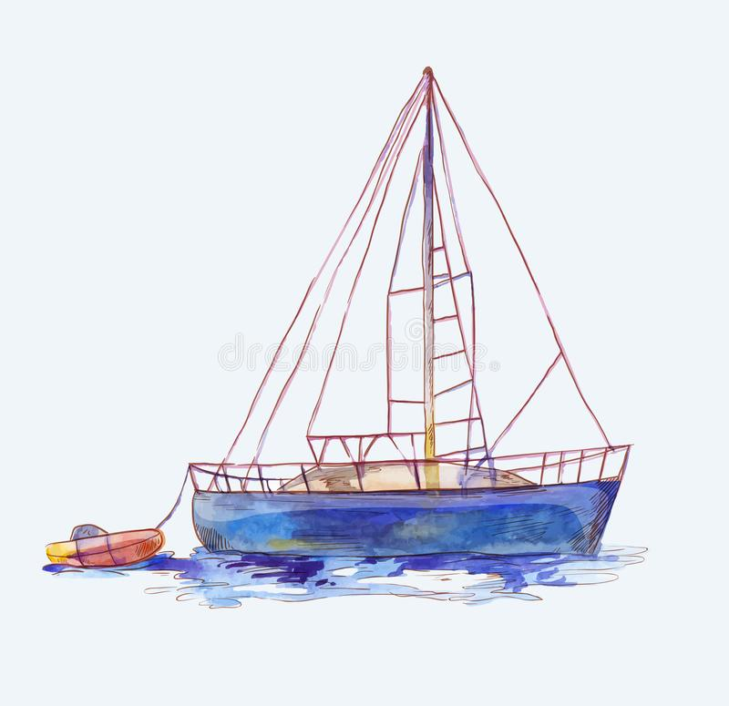 Vector watercolor sailboat with dinghy isolated on white. Seascape scene in sketch style. Watercolor sailboat with dinghy in sketch style. Seascape illustration vector illustration