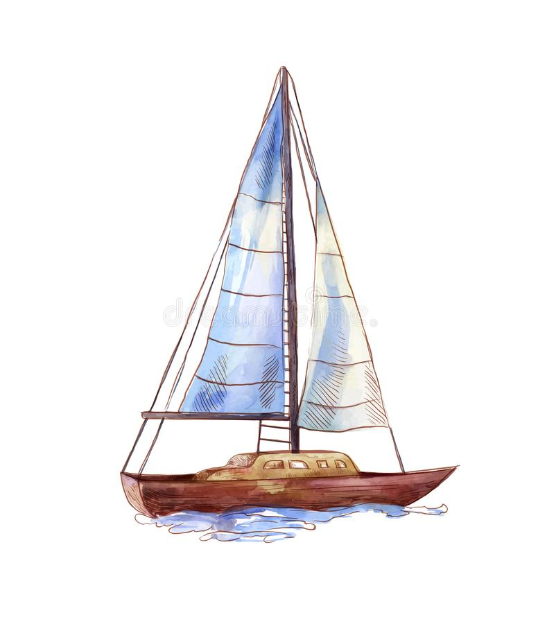 Vector watercolor sailboat isolated on white. Seascape scene in sketch style. Watercolor sailboat in sketch style. Seascape illustration isolated on white royalty free illustration