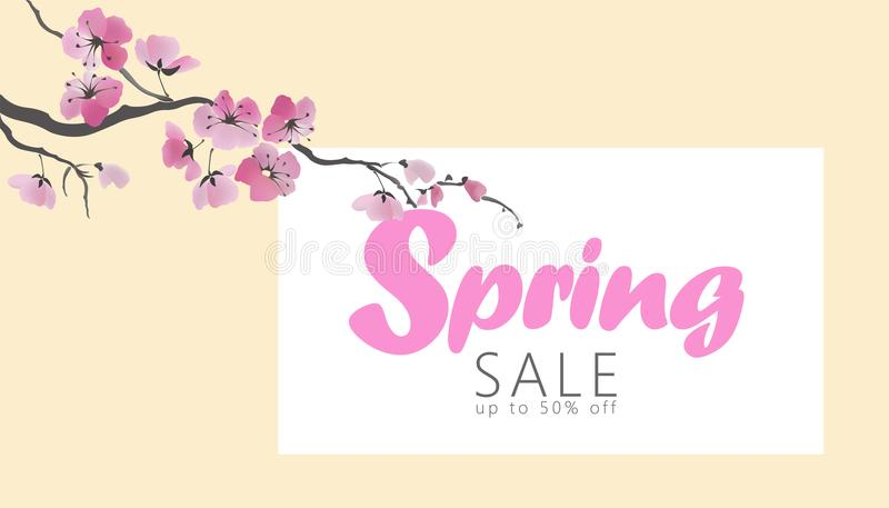 Vector watercolor sakura blossom spring sale banner template. Pink flower branch promotional poster web shop online vector illustration