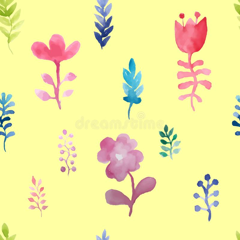 Vector watercolor seamless pattern with flowers and plants. On a yellow background. Floral decor. Original watercolor floral backg stock images