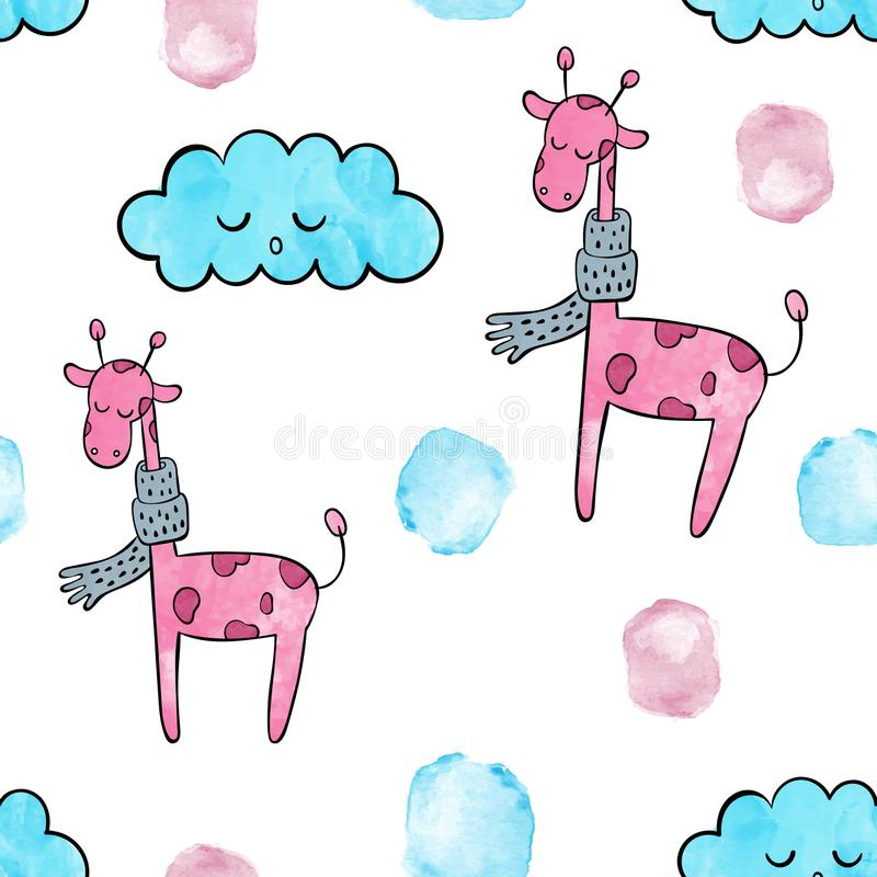 Cute pink giraffe . Vector watercolor seamless pattern. Vector watercolor seamless pattern. pink giraffe stock illustration