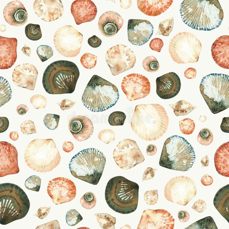 Watercolor seamless pattern of seashells, clams and snails in mixed style on a white background. royalty free illustration