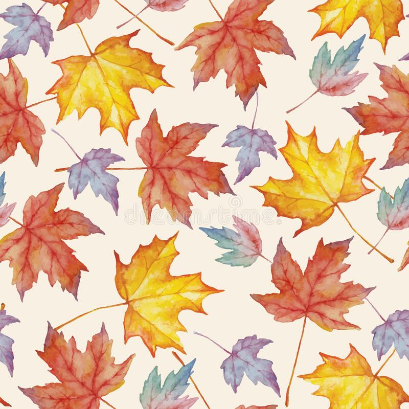 Free Vector Watercolor Seamless Pattern With Autumn Maple Leaves Stock Photos - 191451973