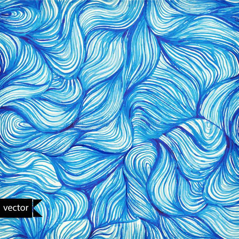 Vector watercolor seamless wave hand-drawn pattern, background ( stock illustration