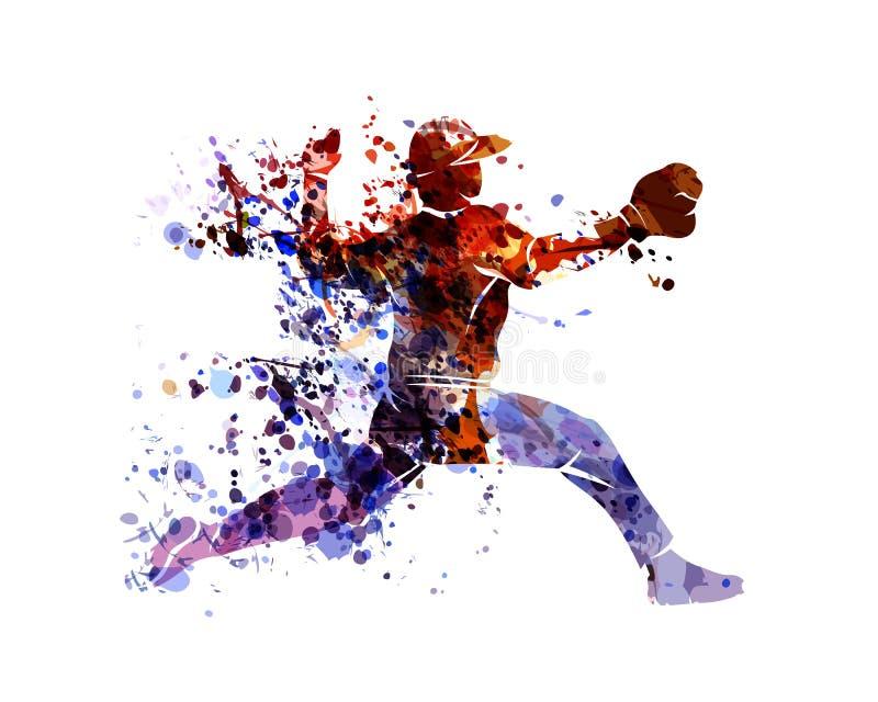 Vector watercolor silhouette baseball player stock illustration