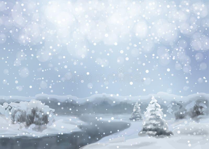 Vector Watercolor Snowy Landscape stock illustration