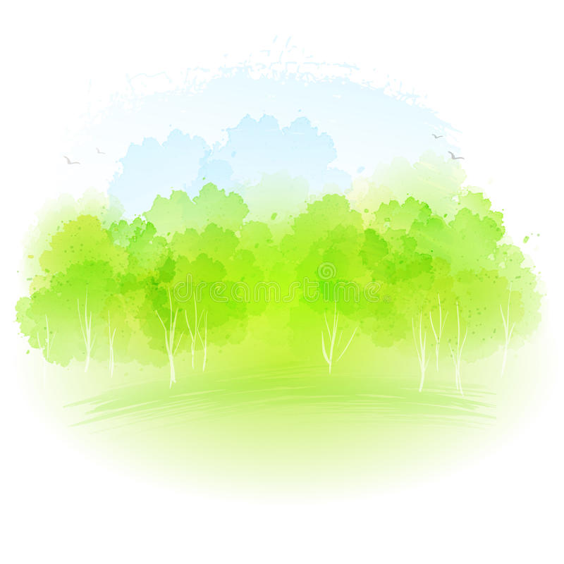 Free Vector Watercolor Spring Landscape Royalty Free Stock Image - 50612726