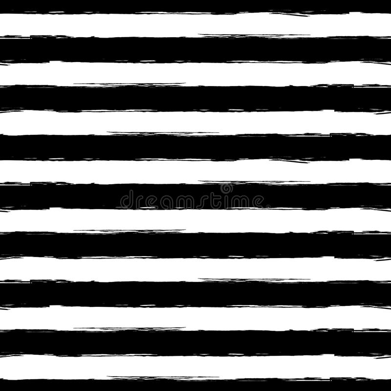 Vector watercolor stripe grunge seamless pattern. Abstract black royalty free illustration