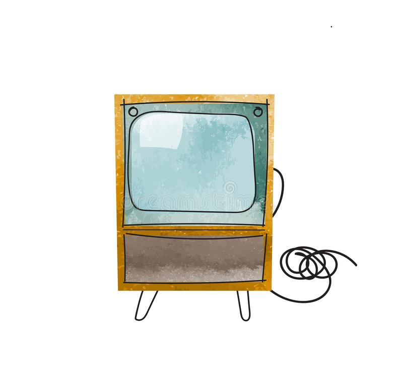 Vector watercolor tv illustration. royalty free illustration