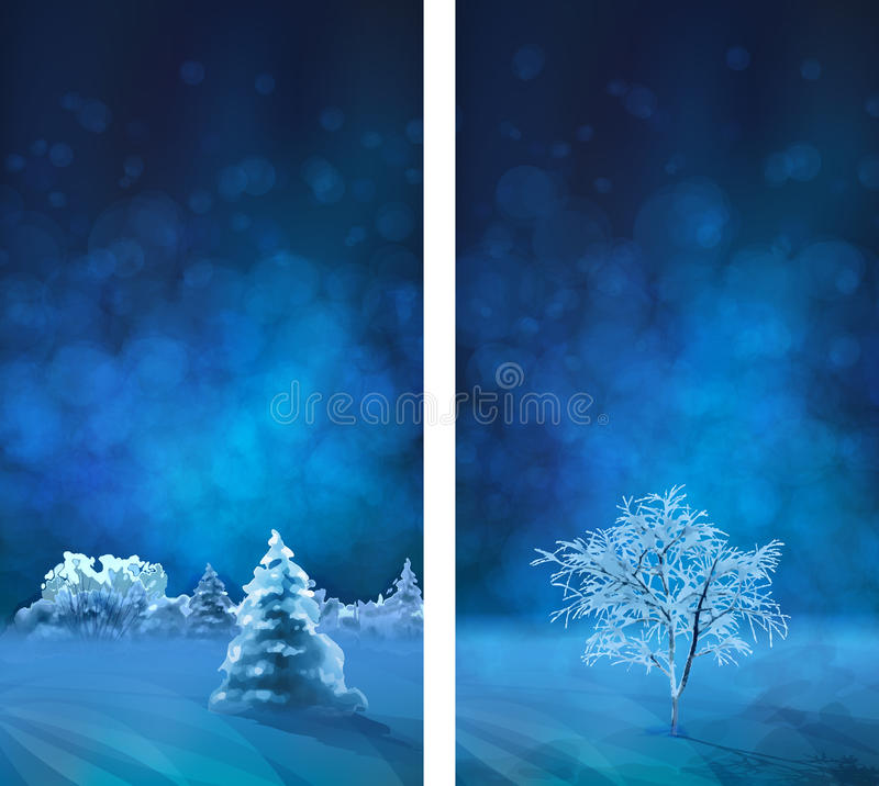 Vector Watercolor Winter Night Banners. With snow-covered forest, fir tree royalty free illustration