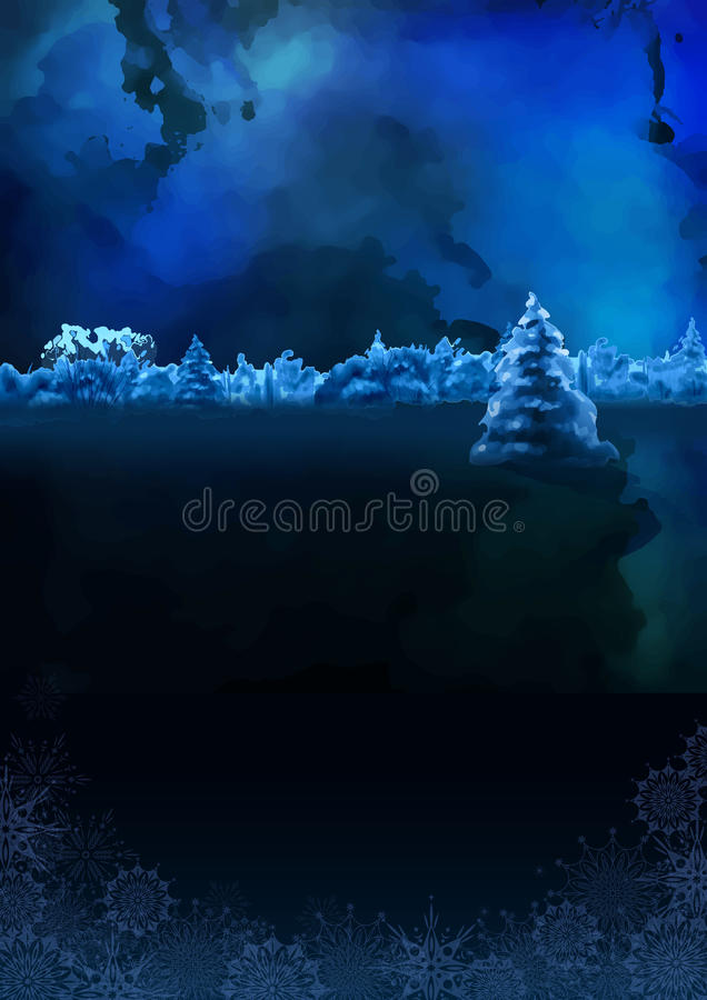 Vector Watercolor Winter Night Landscape. Vector watercolor winter banner. Dark blue night landscape with snow-covered forest, fir tree royalty free illustration