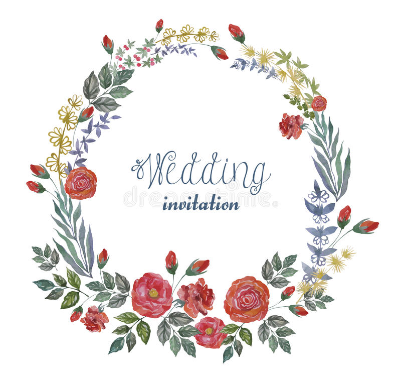 Vector Watercolor Wreath with Roses and Herbs. royalty free illustration