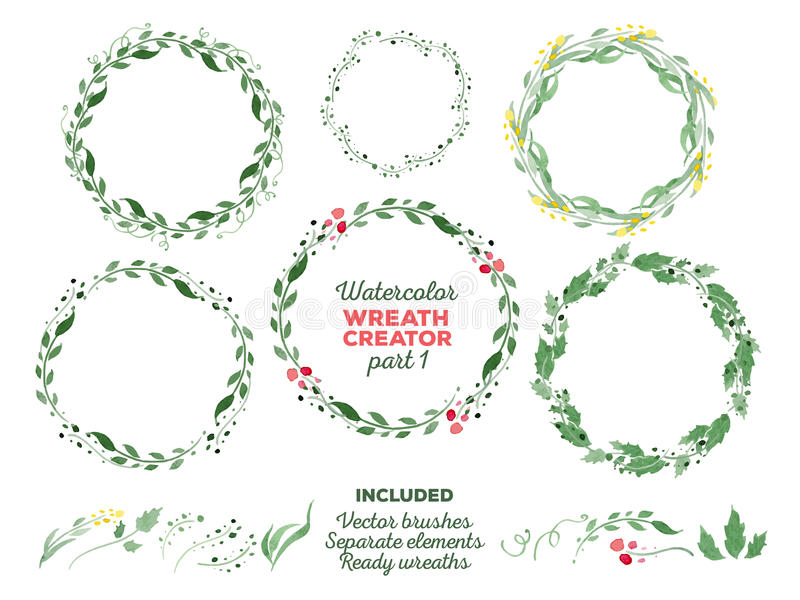 Vector watercolor wreaths and separate floral royalty free stock images