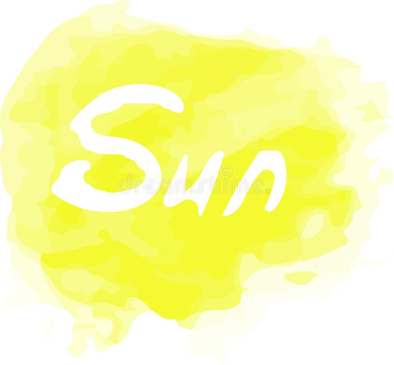 download vector watercolor yellow splash with a sun word on it creative art for your