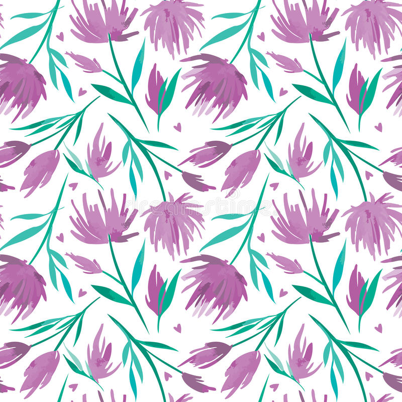 Vector watercolour floral seamless pattern, delicate flowers, green, turquoise and pink flowers royalty free illustration