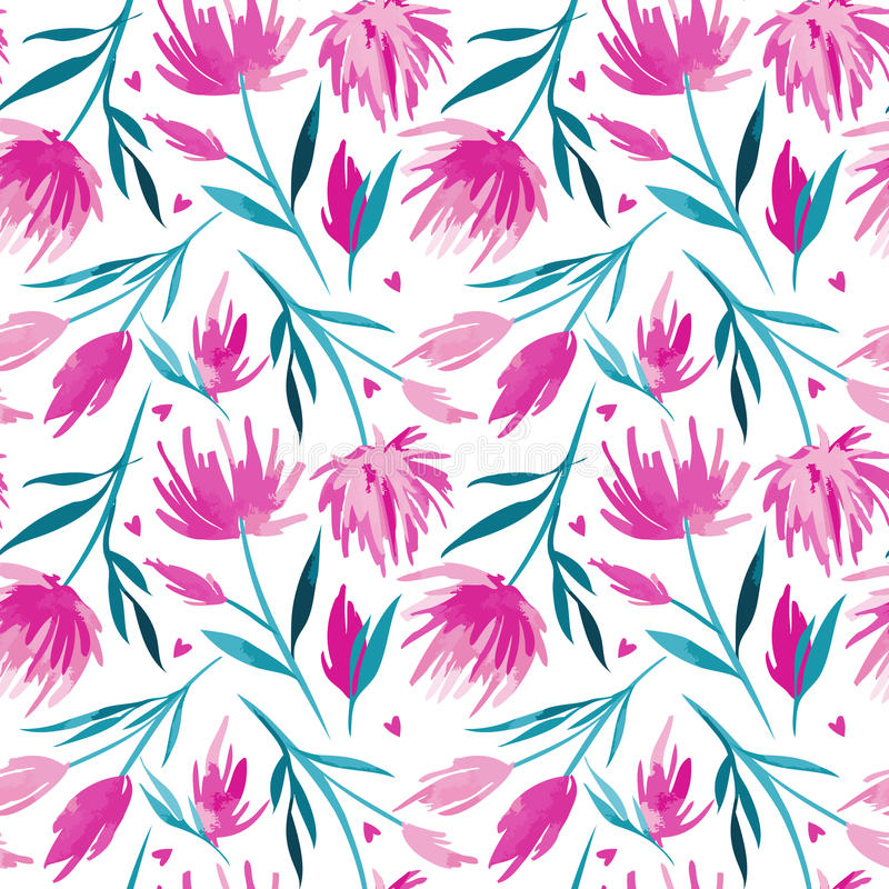 Vector watercolour floral seamless pattern, delicate flowers, green, turquoise and pink flowers royalty free stock images