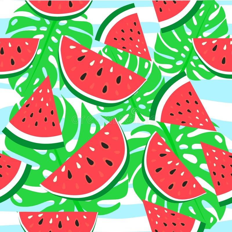 Vector watermelon background with black seeds. Seamless watermelons pattern. Vector background with watercolor watermelon slices. stock illustration