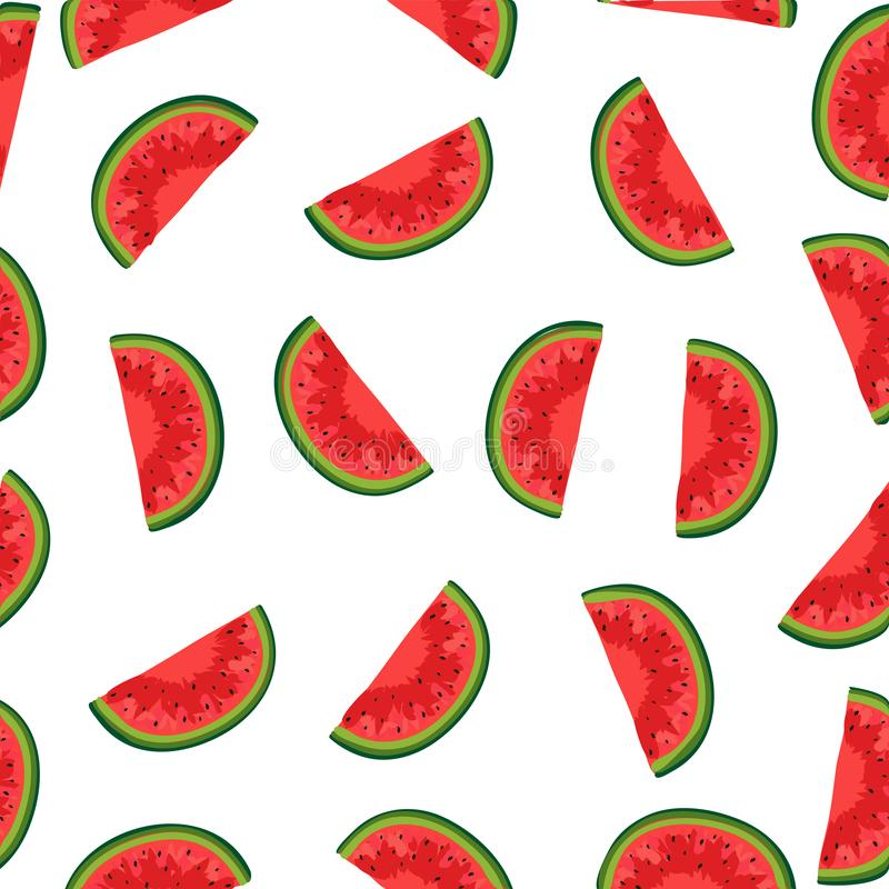 Vector watermelon background with black seeds. Seamless watermelons pattern vector illustration