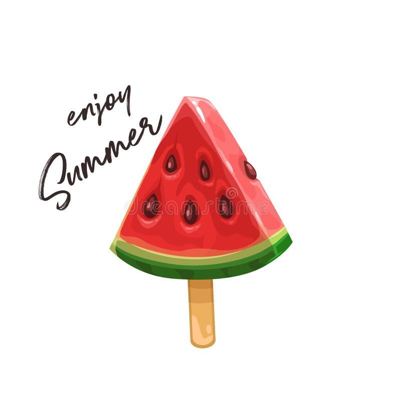 Watermelon slice on a stick royalty free illustration