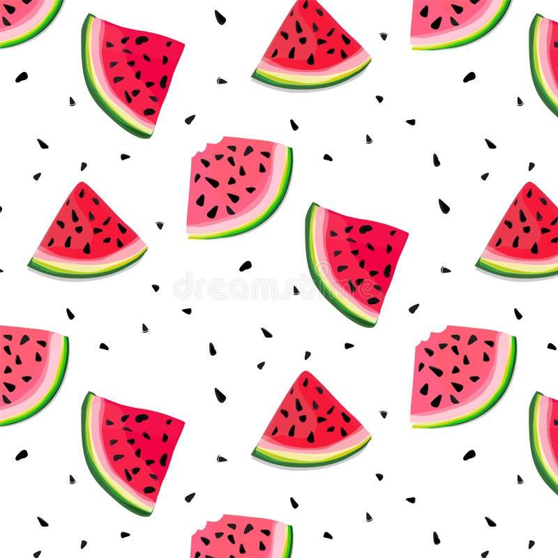 Vector watermelon slices pattern. summer fresh illustration. Tasty decoration texture. Berry dessert fruit. Freshness stock illustration