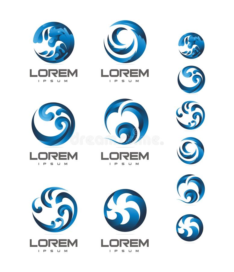 VECTOR : WAVE BEACH LOGO DESIGN. Collection of Editable WAVE BEACH LOGO DESIGN vector illustration