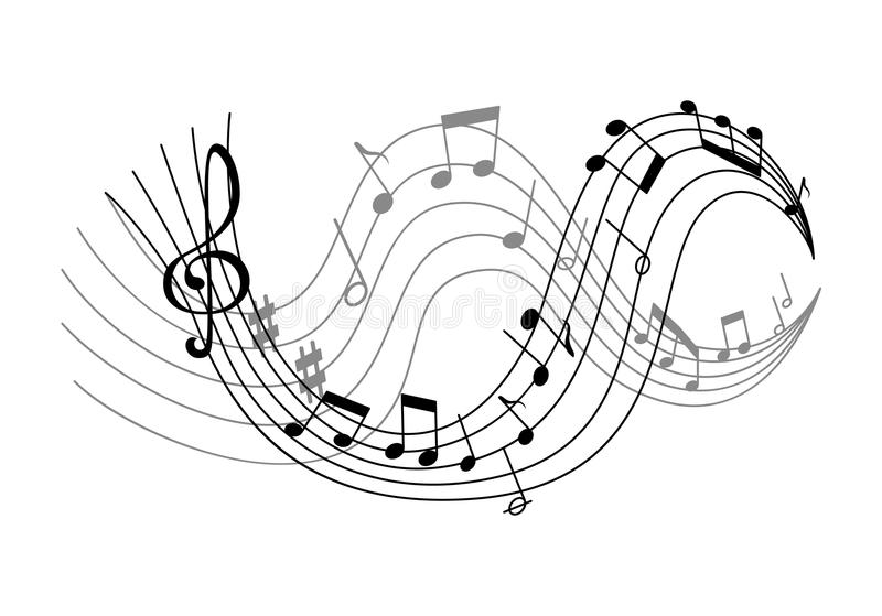 Vector with waves of music notes stock illustration