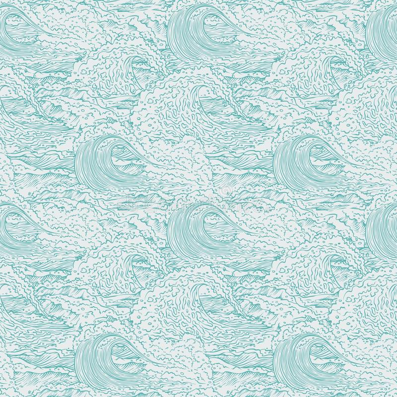 Vector waves sea ocean seamless background pattern. Big and small bursts splash with foam and bubbles. Outline sketch. Illustration vector illustration