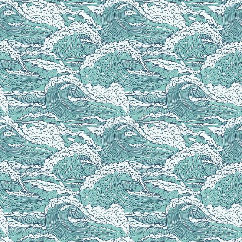 Vector waves sea ocean seamless pattern. Big and small azure bursts splash with foam and bubbles. Outline sketch royalty free illustration