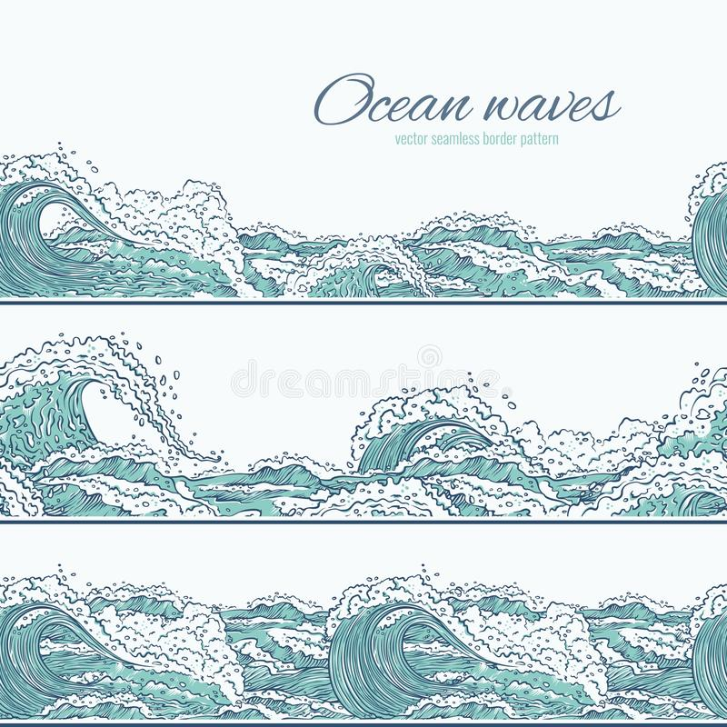 Vector waves sea ocean seamless pattern border. Big and small azure bursts splash with foam and bubbles. Outline set vector illustration