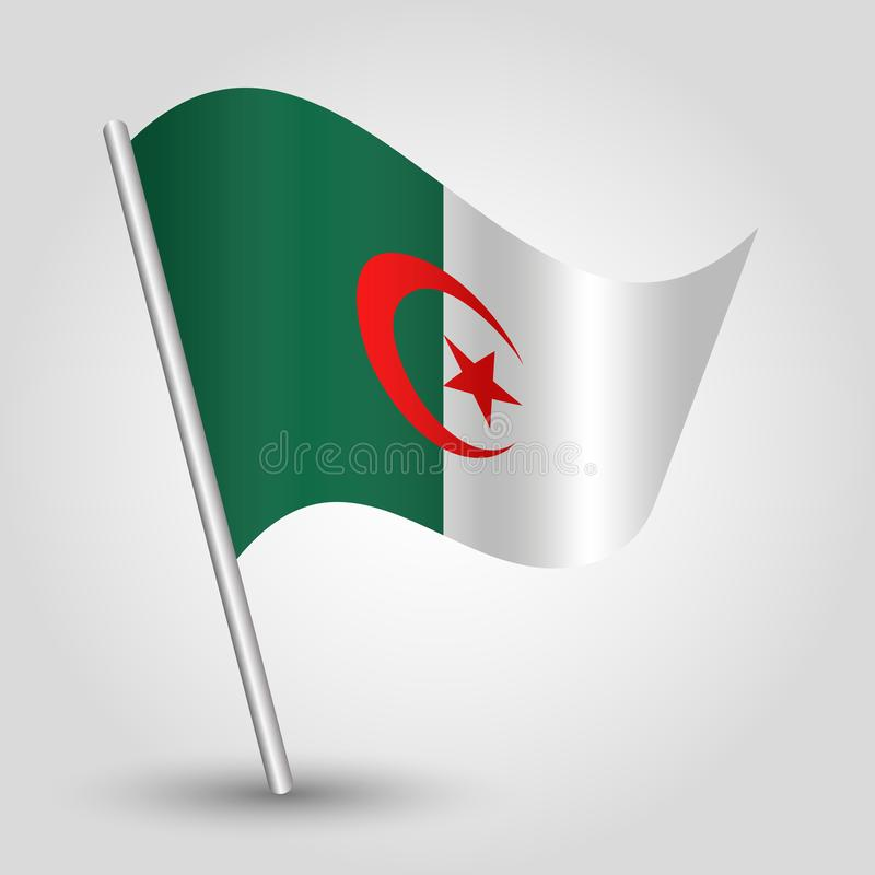 Vector waving triangle algerian flag on slanted silver pole - symbol of algeria with metal stick royalty free illustration
