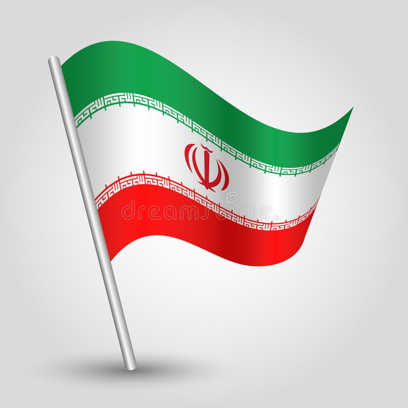 Vector waving triangle iranian flag on slanted silver pole - icon islamic republic of iran with metal stick vector illustration