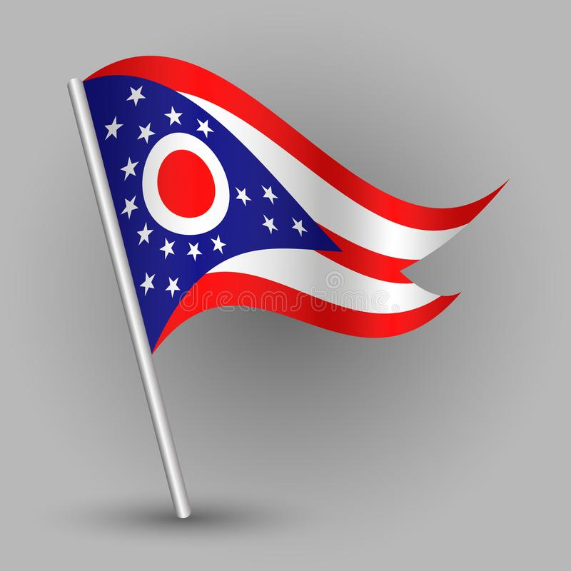 Free Vector Waving Triangle American State Flag On Slanted Silver Pole - Icon Of Ohio With Metal Stick Royalty Free Stock Image - 109144636