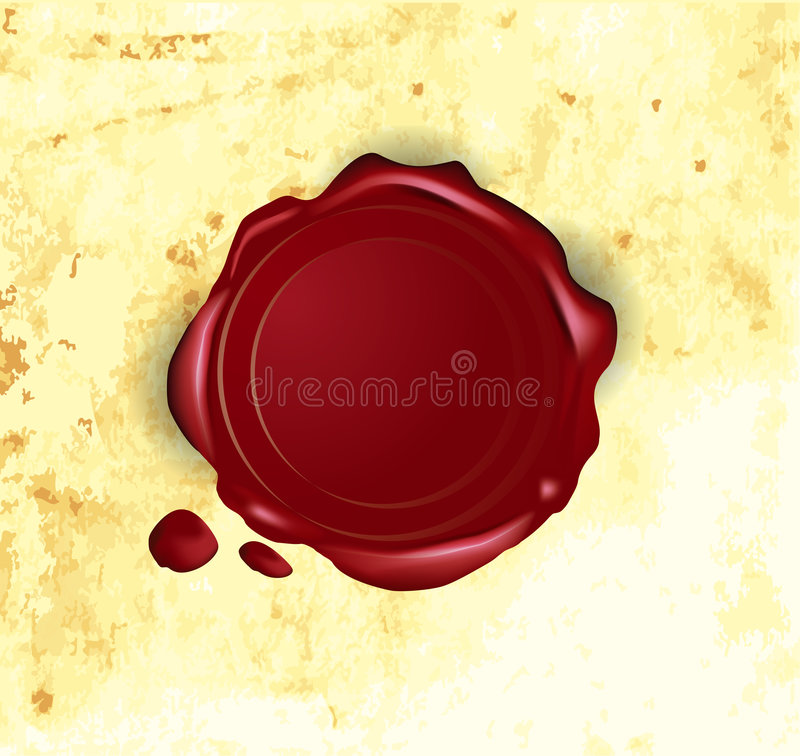 Vector wax seal. On old paper stock illustration