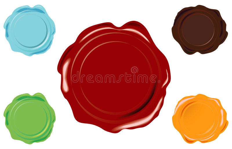 Vector wax seal. 5 color vector wax seal on white background royalty free illustration