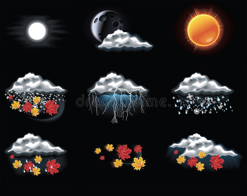 Download Vector Weather Forecast Icons. Part 2 Stock Vector - Image: 15279735