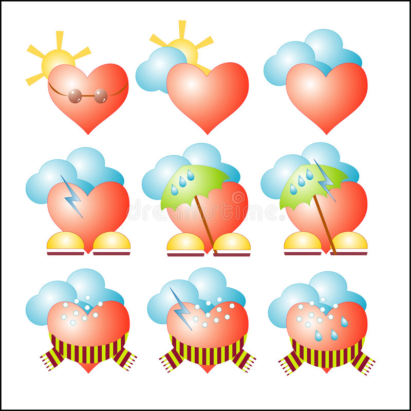Vector weather hearts vector illustration