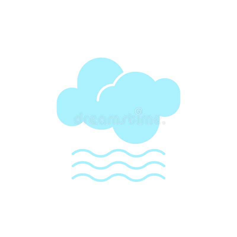 Vector weather icon of a blue cloud with fog to show the misty forecast and the current climate outside. For applications, widgets, and other meteorological stock illustration