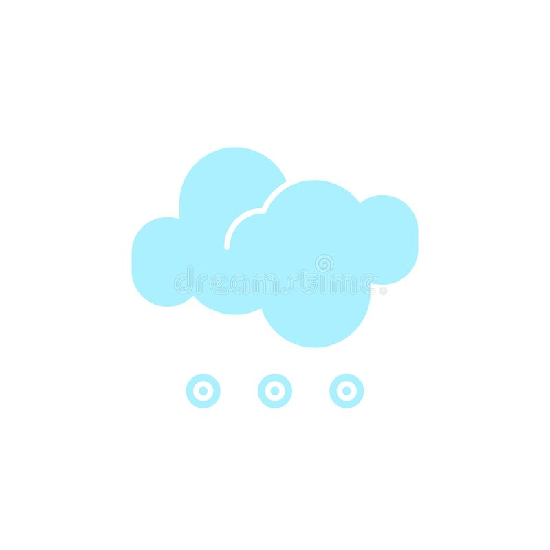 Vector weather icon of a blue cloud with hail to show the cold forecast and the current climate outside. For applications, widgets, and other meteorological vector illustration