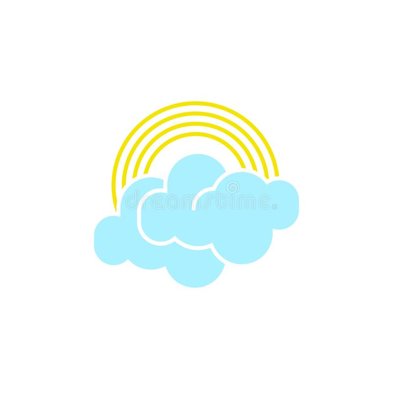 Vector weather icon of a blue cloud with rainbow to show the rainy forecast and the current climate outside. For applications, widgets, and other meteorological vector illustration