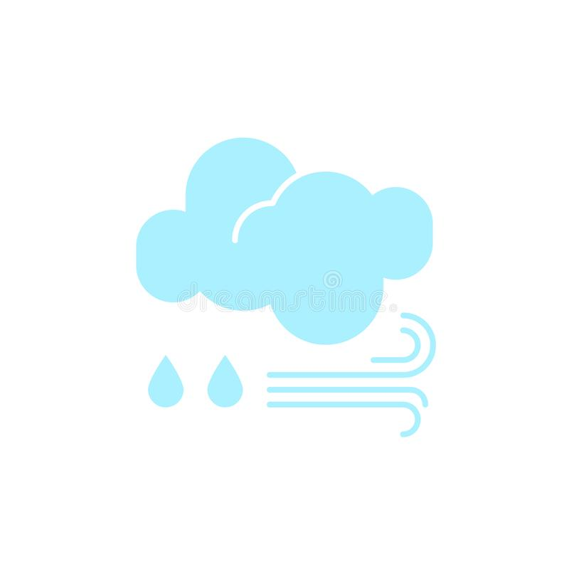 Vector weather icon of a blue cloud with raindrops and wind to show the rainy forecast and the current climate outside. For applications, widgets, and other royalty free illustration