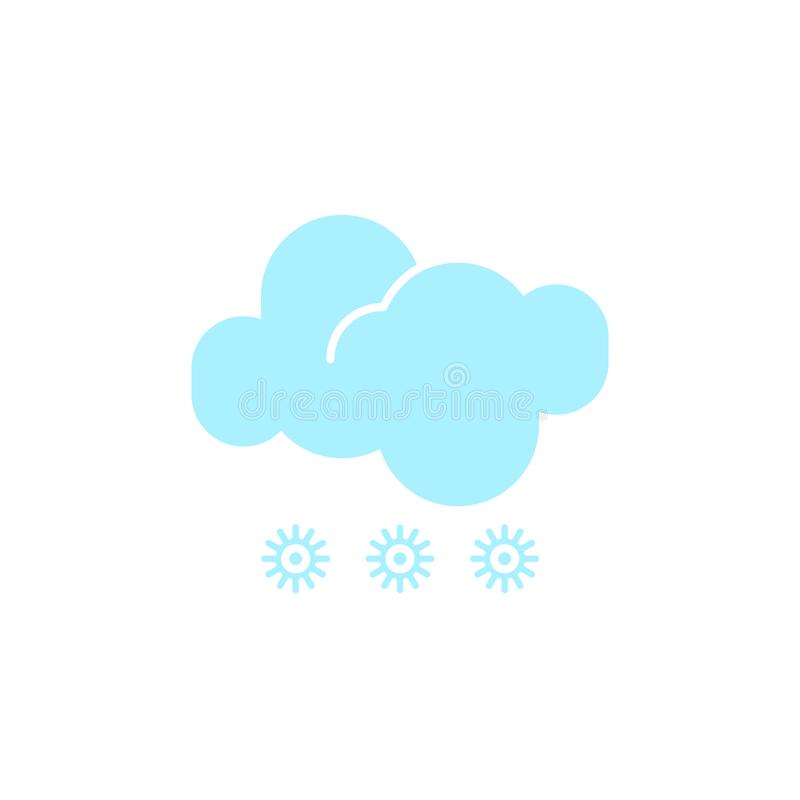 Vector weather icon of a blue cloud with snowflakes to show the snowy forecast and the current climate outside. For applications, widgets, and other vector illustration