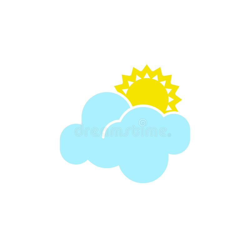 Vector weather icon of a blue cloud with sun to show the forecast and the current climate outside during the day time. For applications, widgets, and other vector illustration